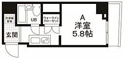 都営浅草線 宝町駅 徒歩2分の賃貸マンション 2階1Kの間取り