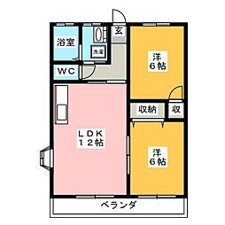 リバーサイドpearl 2[1階]の間取り