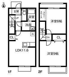 [テラスハウス] 茨城県つくばみらい市伊奈東 の賃貸【/】の間取り