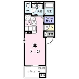 JR山陽本線 五日市駅 徒歩17分の賃貸アパート 3階1Kの間取り
