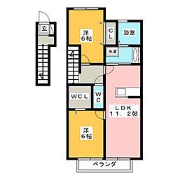 愛知県岡崎市岡町字東神馬崎南側の賃貸アパートの間取り