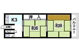 奈良県奈良市肘塚町の賃貸マンションの間取り