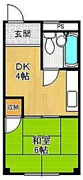 兵庫県尼崎市三反田町2丁目の賃貸アパートの間取り