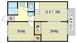 兵庫県姫路市御立中5丁目の賃貸アパートの間取り