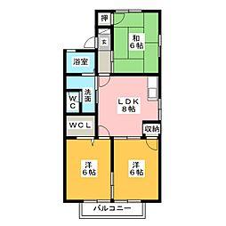 ウイングビレッジ B棟[1階]の間取り