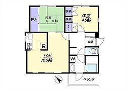 東京都世田谷区野沢2丁目の賃貸アパートの間取り