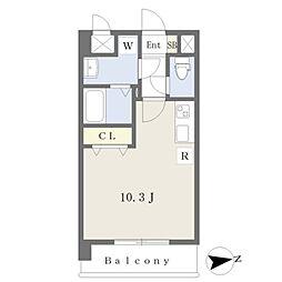 JR鹿児島本線 熊本駅 徒歩19分の賃貸マンション 5階ワンルームの間取り