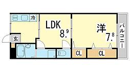 兵庫県神戸市須磨区離宮前町2丁目の賃貸マンションの間取り