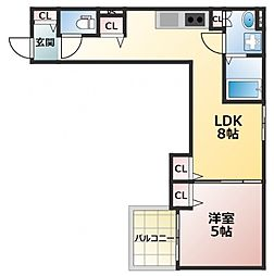 クリエオーレ東中浜 1階1LDKの間取り