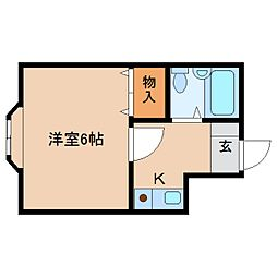 近鉄天理線 天理駅 バス4分 別所下車 徒歩2分の賃貸マンション 3階ワンルームの間取り