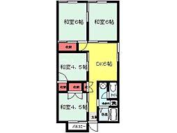 大阪府富田林市藤沢台3丁目の賃貸アパートの間取り