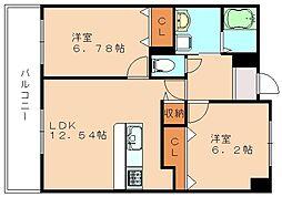 福岡県飯塚市片島2丁目の賃貸マンションの間取り