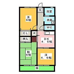 ベルメゾン194[1階]の間取り