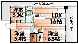 ウイングス三萩野[10階]の間取り