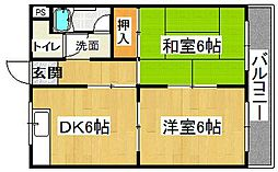 橋喜ハイツ 1号館[4階]の間取り
