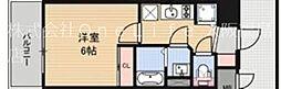 アドバンス西梅田ジェイズ 4階1Kの間取り