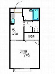 コーポKIII B[1階]の間取り