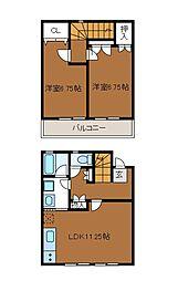 [テラスハウス] 神奈川県相模原市南区上鶴間7丁目 の賃貸【/】の間取り