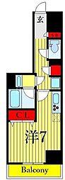 One ROOF Residence Kiba WEST 7階ワンルームの間取り