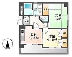 愛知県名古屋市中川区尾頭橋3の賃貸マンションの間取り