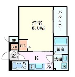 エスリード新大阪グランゲートノウス 9階1Kの間取り