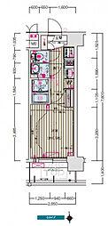 ララプレイス京橋シティオス 4階1Kの間取り