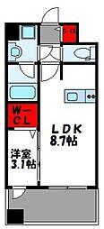 JR鹿児島本線 千早駅 徒歩4分の賃貸マンション 6階1LDKの間取り