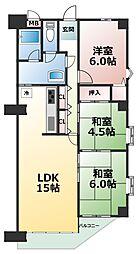 ライオンズマンション朝霧ヶ丘第2[2階]の間取り