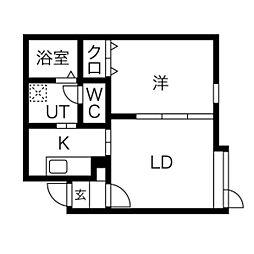 コンパートメントハウス北34条 1階1LDKの間取り