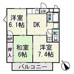 グレイスウエハラ 2階[201号室]の間取り