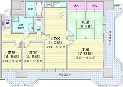 仙台市地下鉄東西線 宮城野通駅 徒歩9分の賃貸マンション 4階4LDKの間取り