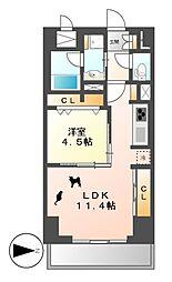 プレミアムコート新栄[4階]の間取り
