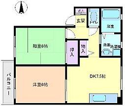 ファミールハイツキタノ[2階]の間取り