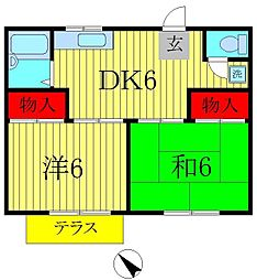 ファミーユ橋本[1階]の間取り