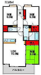アンピール赤間駅前 12階3LDKの間取り