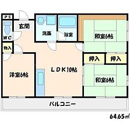 ハイライズ西田[2階]の間取り
