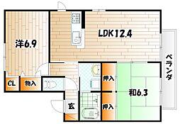 サンセール・ファミーユI A棟[2階]の間取り