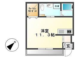 鹿児島市電2系統 加治屋町駅 徒歩35分の賃貸アパート 1階ワンルームの間取り