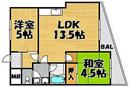 兵庫県川西市湯山台2丁目の賃貸アパートの間取り