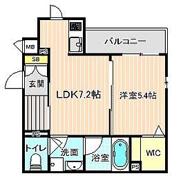 (仮称)シャーメゾン香露園 2階1DKの間取り