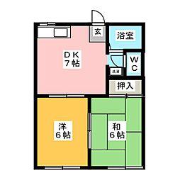 コーポ川澄[1階]の間取り