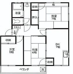 東京都東大和市仲原2丁目の賃貸アパートの間取り