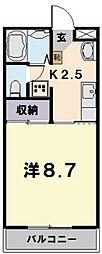 ロイヤルハートピア郷津 B棟[203号室]の間取り