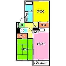 神奈川県秦野市尾尻の賃貸アパートの間取り