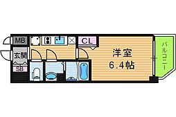 ララプレイス天王寺ルフレ 3階1Kの間取り