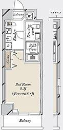 都営新宿線 森下駅 徒歩19分の賃貸マンション 7階1Kの間取り