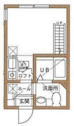 神奈川県横浜市神奈川区神大寺1の賃貸アパートの間取り
