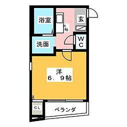 ドミールラフィネY・K[4階]の間取り