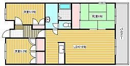 兵庫県加古川市別府町新野辺北町4丁目の賃貸マンションの間取り