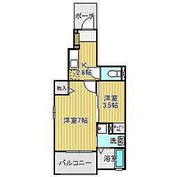 愛知県名古屋市中川区中野新町7丁目の賃貸アパートの間取り